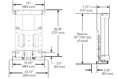 dimensional drawing for wall mount bracket