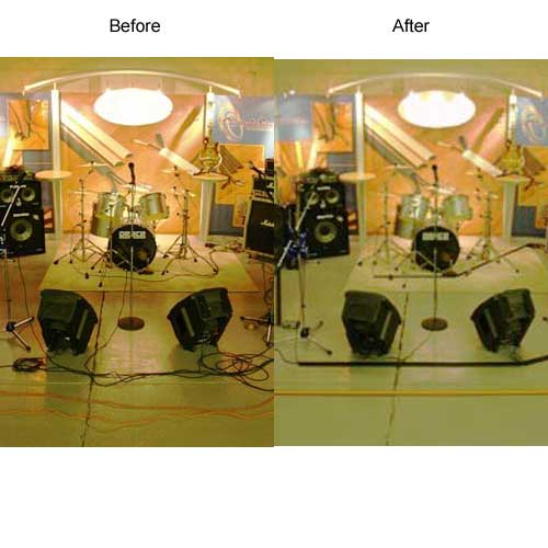 before and after with decorative cord protector in use at music studio
