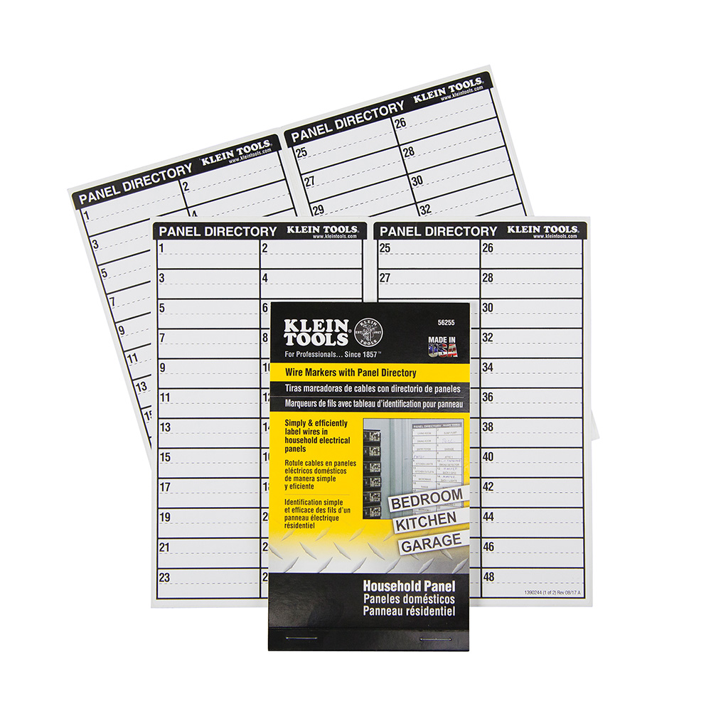 Wire Markers-Household Electric Panel w/Directory
