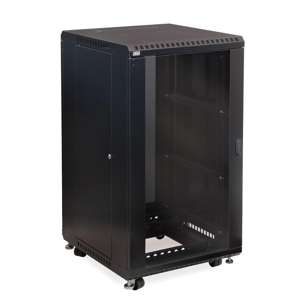 22U LINIER  Server Cabinet - Glass/Vented Doors - 24