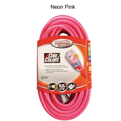 coleman cable cool colors outdoor extension cord in neon pink - icon