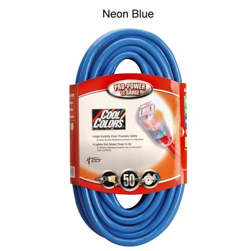 coleman cable cool colors outdoor extension cord in neon blue - icon