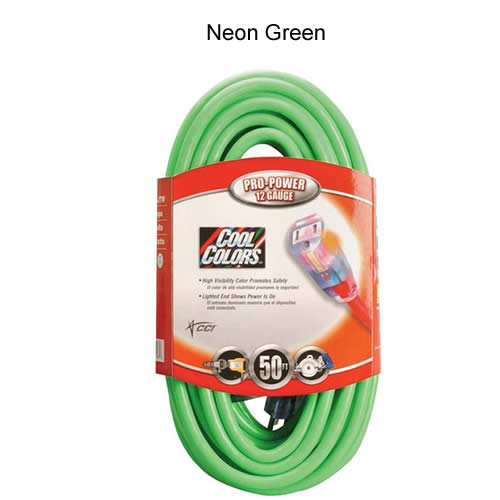 coleman cable cool colors outdoor extension cord in neon green - icon