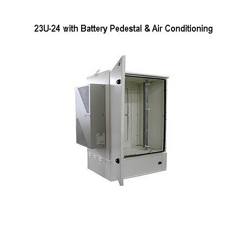 model 23u-24 outdoor enclosure, opened, with battery pedestal and air conditioning icon