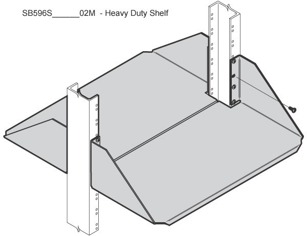 drawing of chatsworth heavy duty non-vented double sided rack shelf in use icon