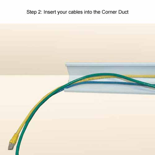 inserting cables into cornerduct surface raceway