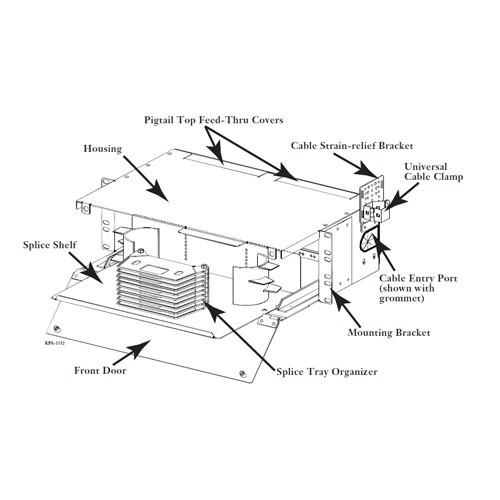 drawing of corning rack mount closet splice housing icon