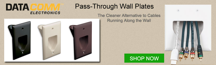 Datacomm Pass-Through Wall Plates for low voltage cables