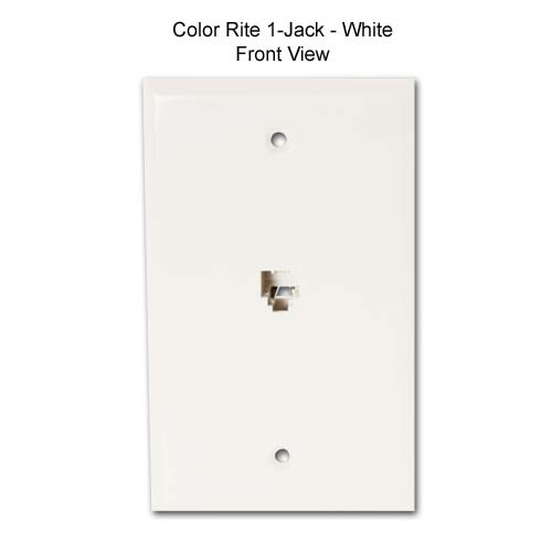 datacomm color-rite one jack wall plate in white, front view icon