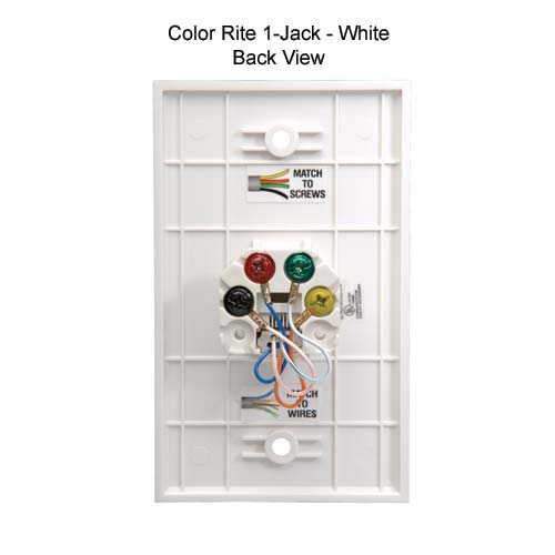 datacomm color-rite one jack wall plate in white, rear view icon