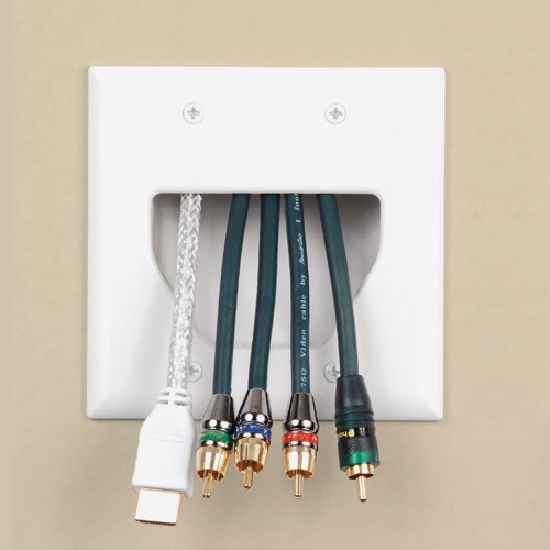datacomm low voltage dual gang cable pass-through wall plate in use icon