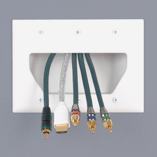 datacomm low voltage dual gang cable pass-through wall plate in use closeup icon
