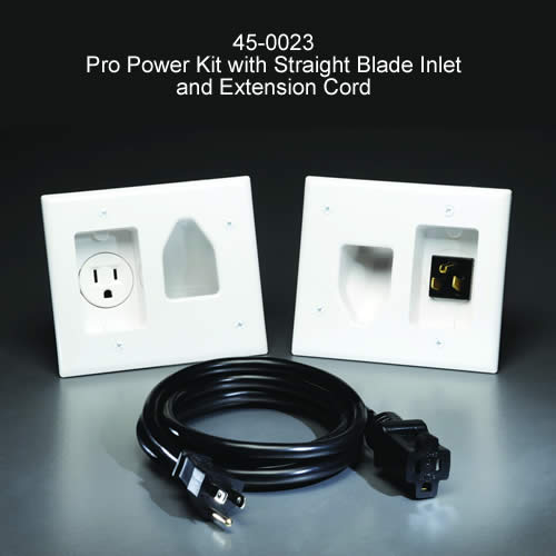 datacomm recessed pro-power kit with straight blade inlet and extension cord - icon