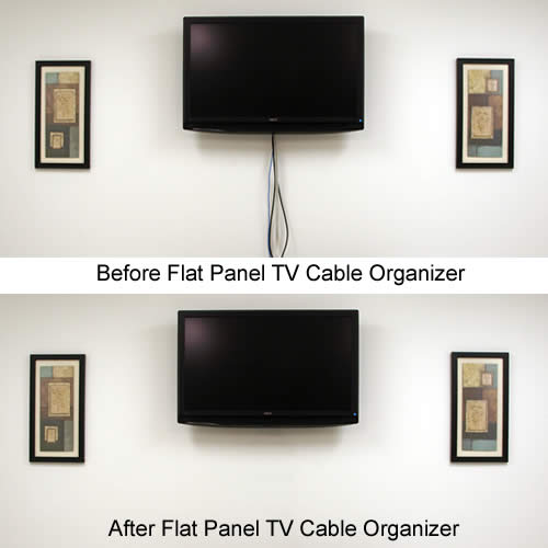 before and after use of datacomm flat panel tv cable organizer - icon