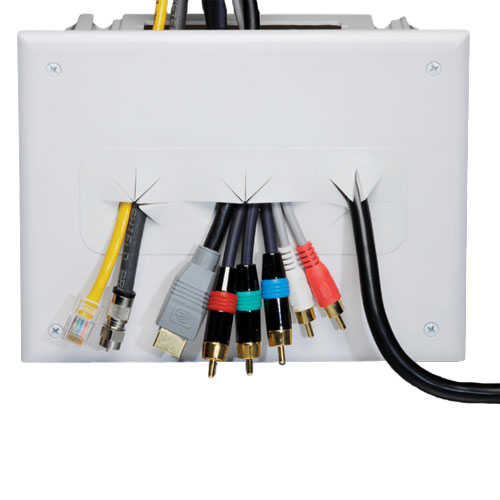 datacomm white recessed media box in use, front view - icon