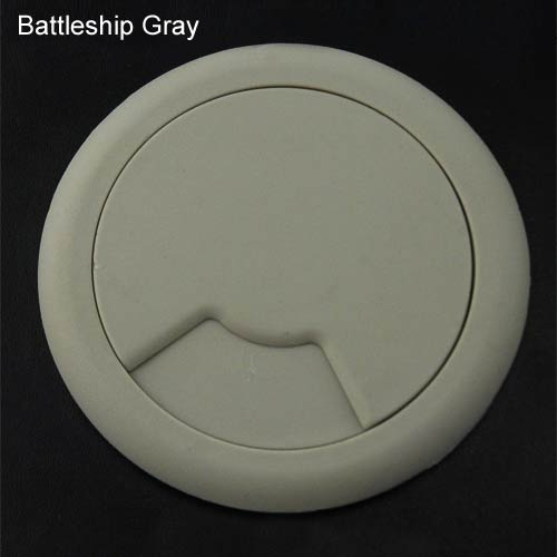 round desk grommet in battleship gray