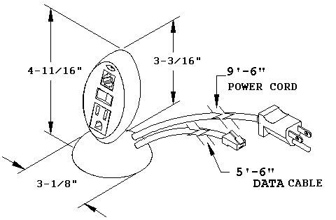 dimensional drawing for desktop outlet, PCS29