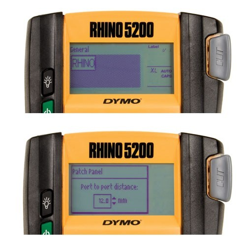 close up of dymo rhino 5200 industrial label printer screen - icon