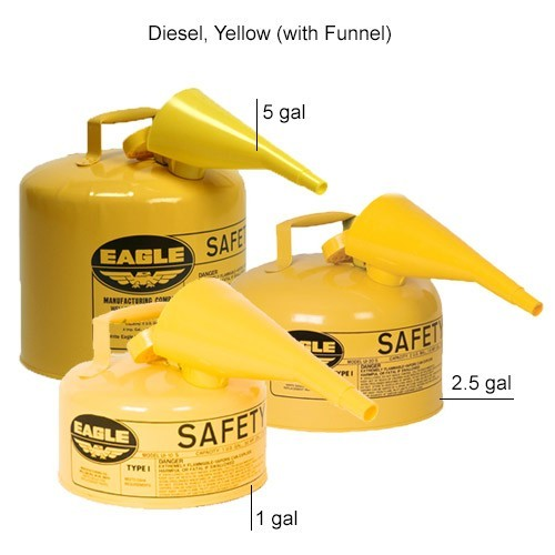 Eagle Manufacturing Type 1 Safety Can Diesel, Yellow with Funnel