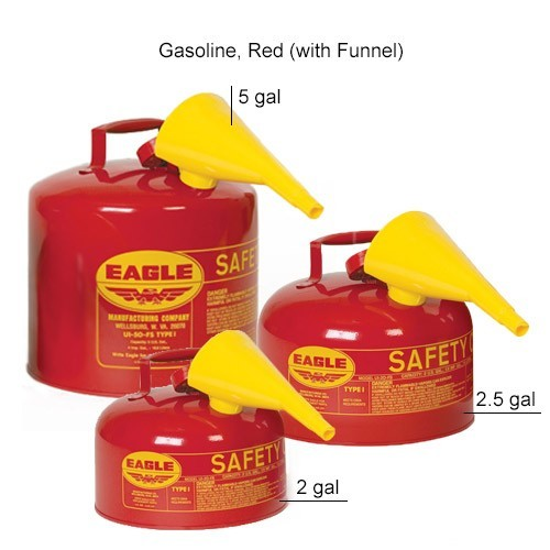 Eagle Manufacturing Type 1 Safety Can Gasoline, Red with Funnel