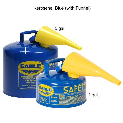 Eagle Manufacturing Type 1 Safety Can Kerosene, Blue with Funnel