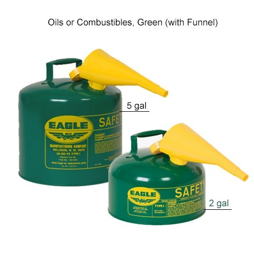 Eagle Manufacturing Type 1 Safety Can Oil/Combustible, Green with Funnel