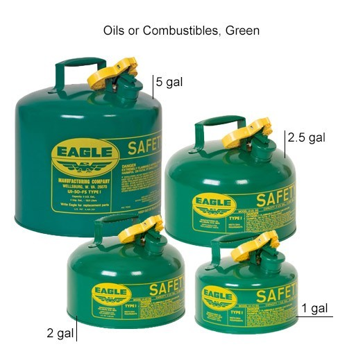 Eagle Manufacturing Type 1 Safety Can Oil/Combustible, Green