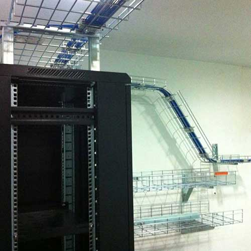 cable trays in use in a server room