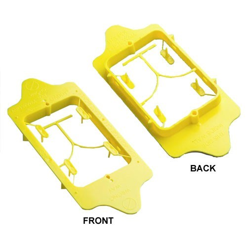 front and back views of erico caddy within wall mounting plate - icon