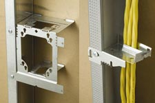 Erico mounting boxes, stud cabling