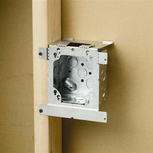 erico caddy electrical box bracket installed on wood - icon