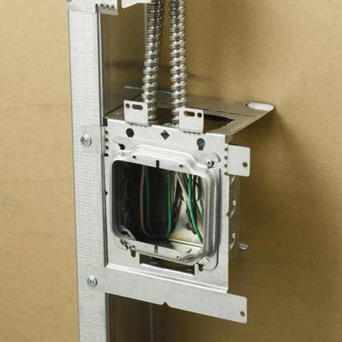 application of erico caddy electrical box bracket installed on metal - icon