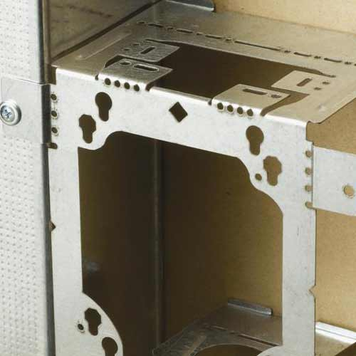 close up of erico caddy electrical box bracket installed on metal - icon