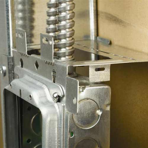 close up of erico caddy electrical box bracket in use - icon