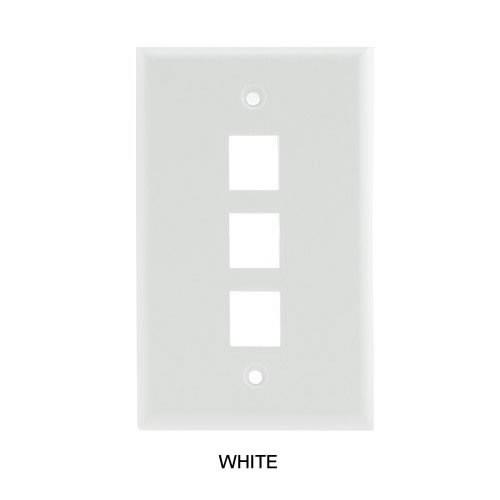 3 port multimedia faceplate in white - icon