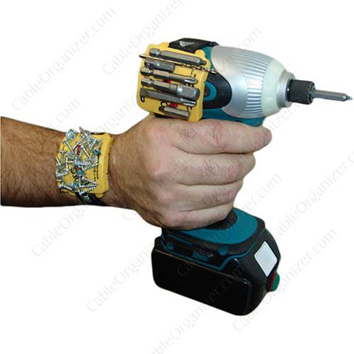 hand holding drill with ProHolds and screws - icon