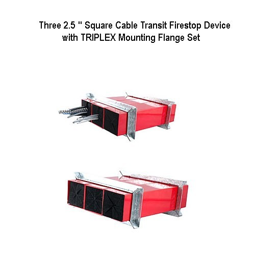 abesco ct 120 cable transit 2 inch round firestop device with flange set installed - icon