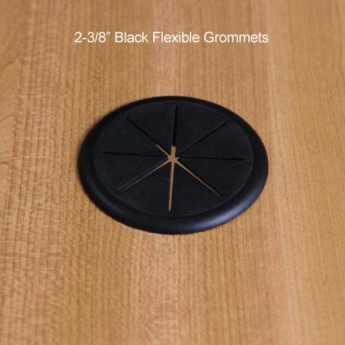 flexible desk grommet in brown black beige metallic and white - icon