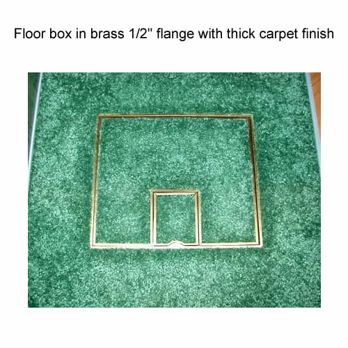 fsr fl 500p floor box in brass half inch flange with thick carpet finish icon