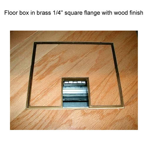 fsr fl 500p floor box in brass quarter inch flange with wood finish icon