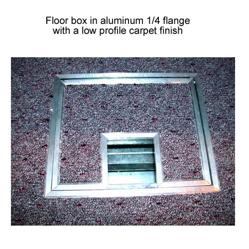 fsr fl 500p floor box in aluminum quarter inch flange with low profile carpet finish icon