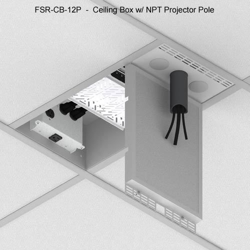 fsr cb series ceiling box with npt projector pole installed icon