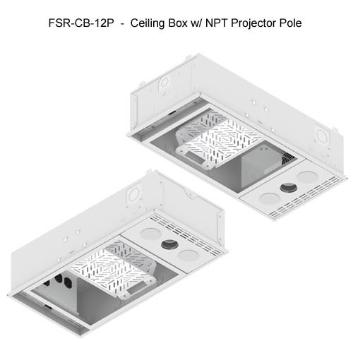 fsr cb series ceiling box views with npt projector pole icon