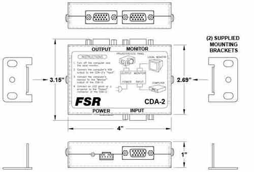 dimensions for video splitter amplifier