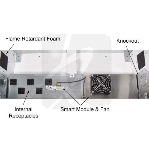 inside of cage showing receptacles, fan, module, knockouts - icon