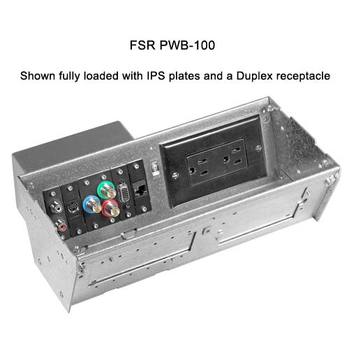 fsr plasma and  lcd connection wall box fully loaded with ips plates and a duplex receptable icon