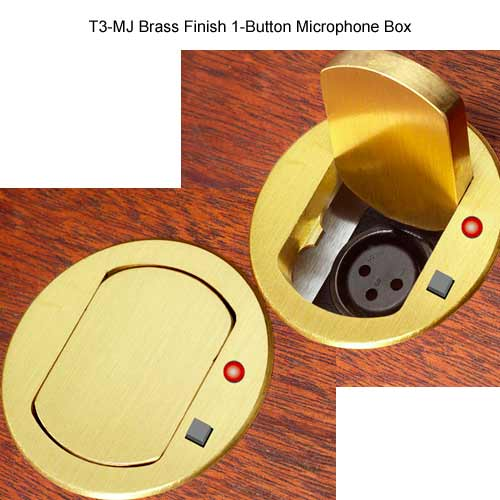 brass finish one button fsr t3 mj table top microphone box
