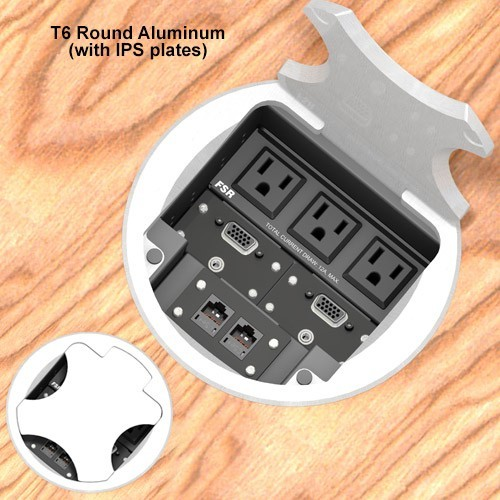6inch Table box w/ 3 AC, 1LB, 1SM, Aluminum Round Cover