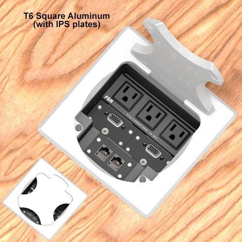 6inch Table box w/ 3 AC, 1LB, 1SM, Aluminum Square Cover