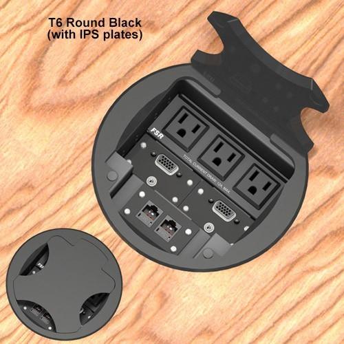 6inch Table box w/ 3 AC, 1LB, 1SM, Black Round Cover